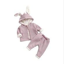 Детская одежда, вельветовый утепленный комплект детской одежды, новая рубашка на молнии, костюм для маленьких детей с кроликом, зимний комплект из двух предметов