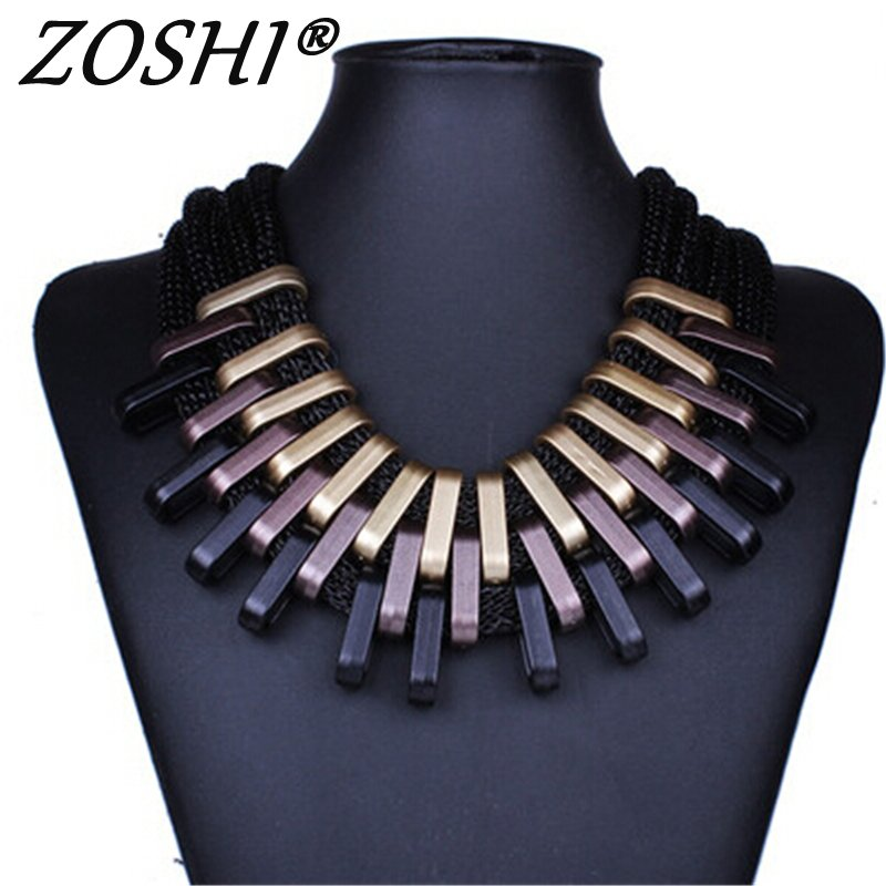 2017 New Acrylic Punk Vintage Fashion Necklaces &Pendants Women Statement Necklace Gradient Drops Choker Maxi Colar Feminino