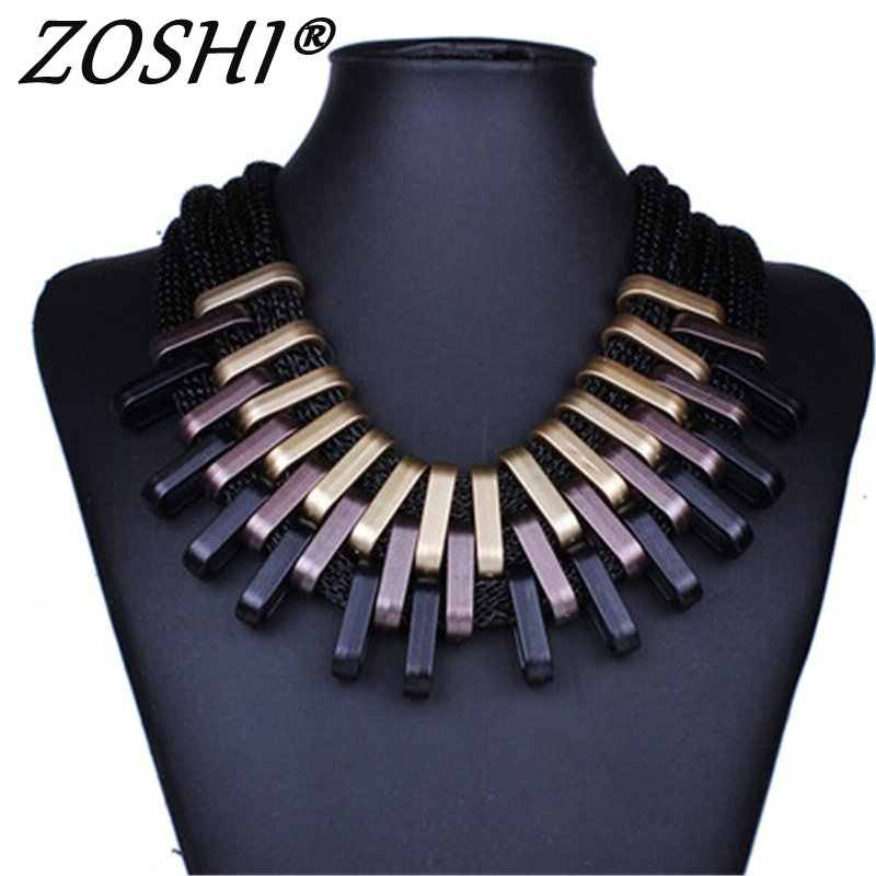 2019 New Acrylic Punk Vintage Fashion Necklaces &Pendants Women Statement Necklace Gradient Drops Choker Maxi Colar Feminino