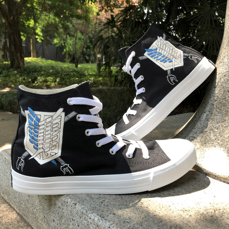 Wen Design Custom Black Hand Painted Shoes Anime Attack on Titan Wings Logo Athletic Shoes Men Women Canvas High Top Sneakers wen design custom astronaut outer space moon galaxy hand painted black canvas sneakers high top adults unisex athletic shoes