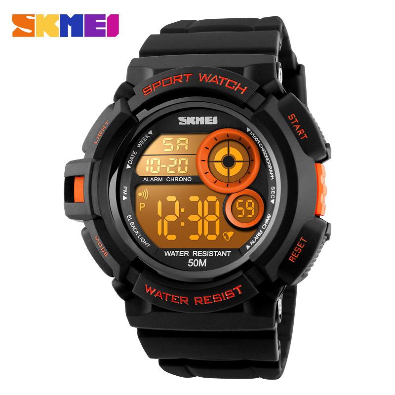 Prix pour Skmei hommes femmes sport montre grand cadran numérique montre-bracelet 7 couleurs el lumière chrono alarme étanche montres relogio masculino 1222