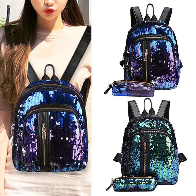 2pcs/set New Teenage Bling Glitter Sequins Backpack Girls Rucksack Students School Bag With Pencil Case Clutch #3