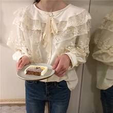 66a20df1a5274d Sweet Girl Layers Ruffles Lace Patchwork Shirt Women Top Puff Sleeve Blouse  Tie Retro Chemise Femme Chemisier Blusa Mujer Camisa