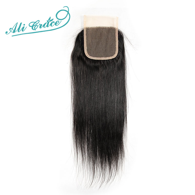 ФОТО Brazilian Virgin Hair Straight Lace Closure Middle/Free Part 2 Options Ali Grace Hair Straight Lace Closure 4*4  10  to 24 inch