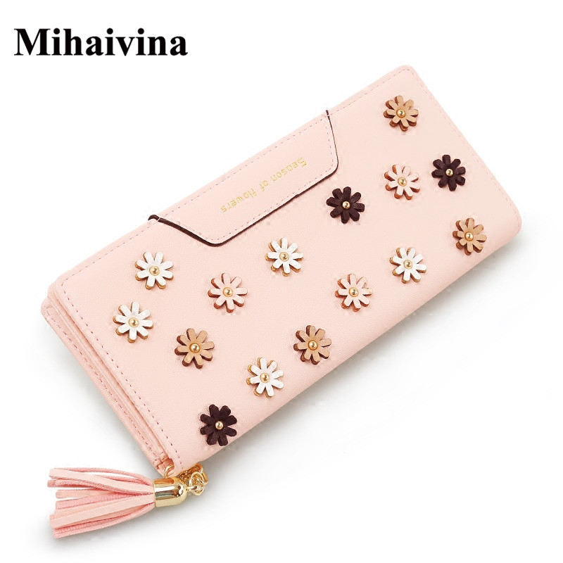 Mihaivina New Fashion Flower Women Wallets Long Style Leather Wallets  Purse Hasp Dollar Price Card Holder Organizer Pocket Gift