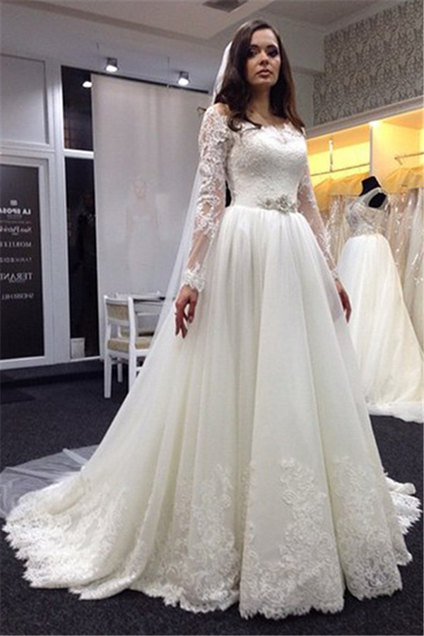 Plus Size Long Sleeve Wedding Gowns Promotion-Shop for Promotional ...