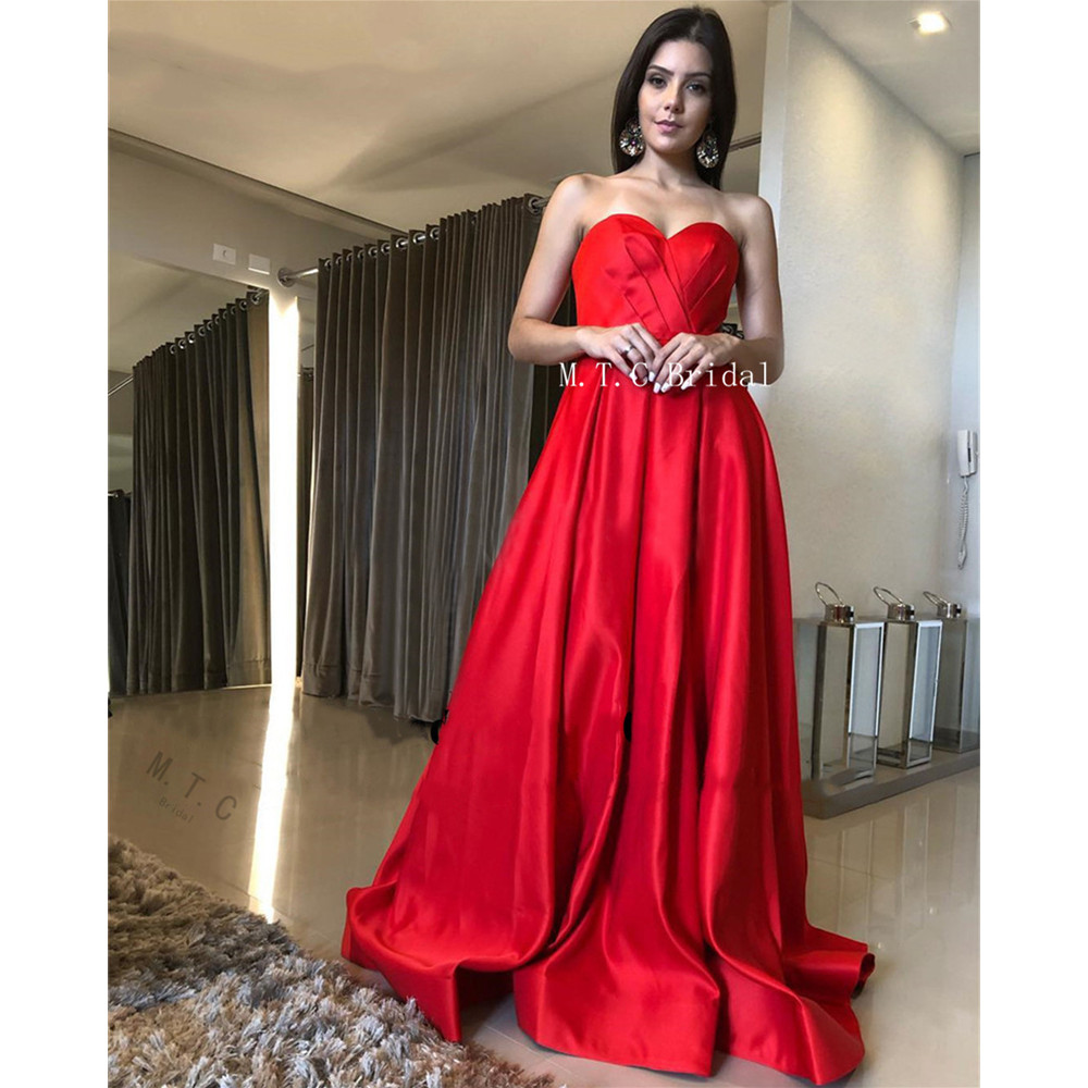 Charming Long Red Satin Arabic   Prom     Dresses   Strapless High Slit A Line Sexy Evening Party Gowns 2019 Custom Made Robe De Soiree
