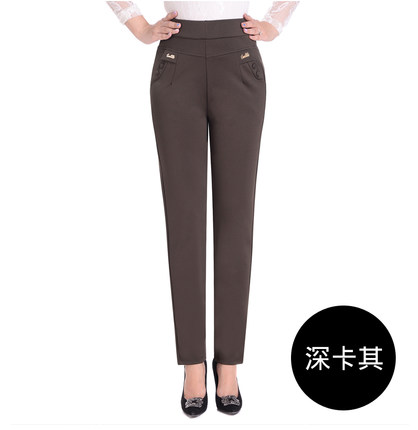 Image 4 - Makuluya 2 buttons withlogo Top Quality 5XL Plus Size Middle old Age Women Trousers High Waist Straight Casual Pants Solid L6-in Pants & Capris from Women's Clothing