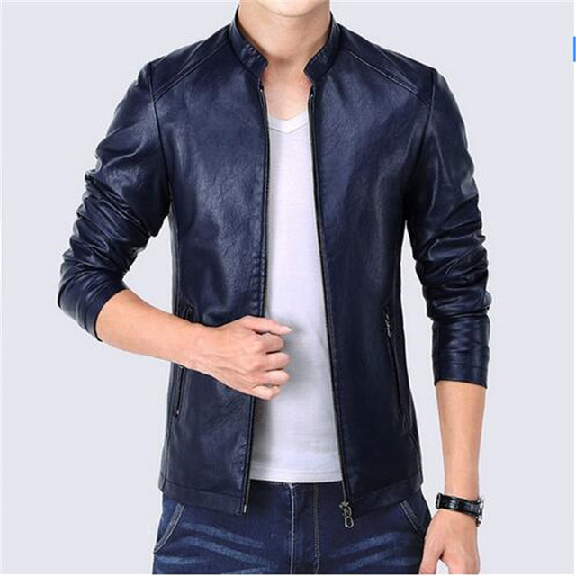 0326540ec US $64.34 |Korean Slim Fit Faux Leather Jacket Men Zipper Pockets 2017  Fashion Autumn Men's Jackets Black Blue Red Windbreaker Coat Male-in  Jackets ...