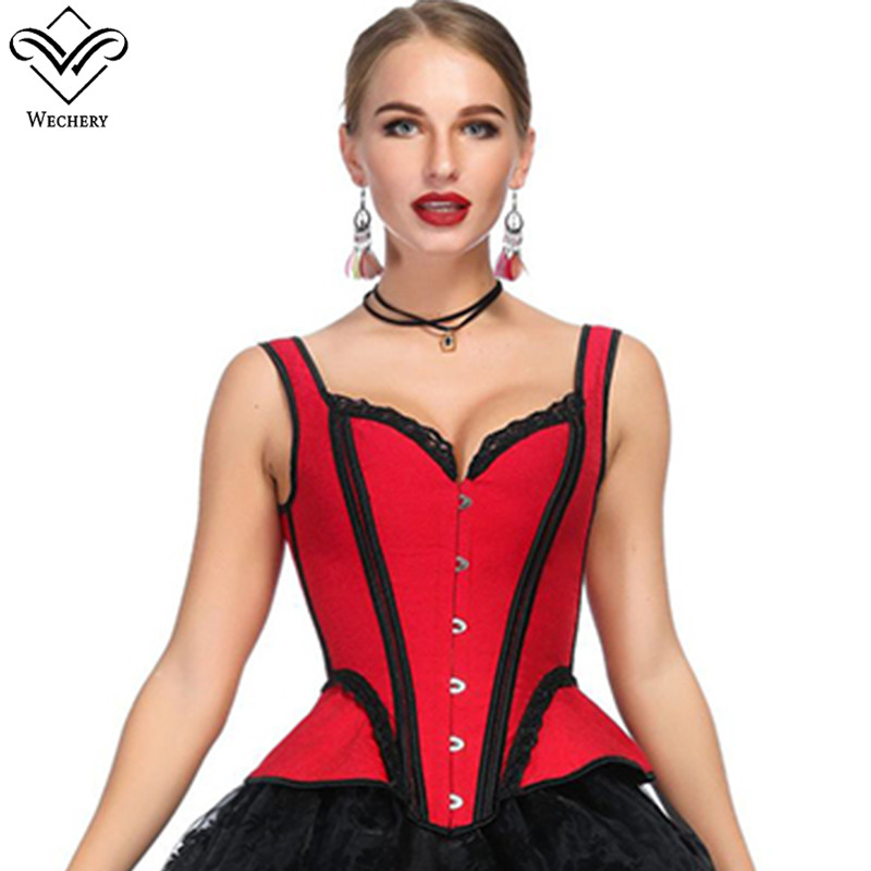 Wechery Victorian Vintage   Corsets   Slimming Waist Trainer Plus Size Womens Steampunk Floral Corselet   Corset     Bustier   Lace Tops
