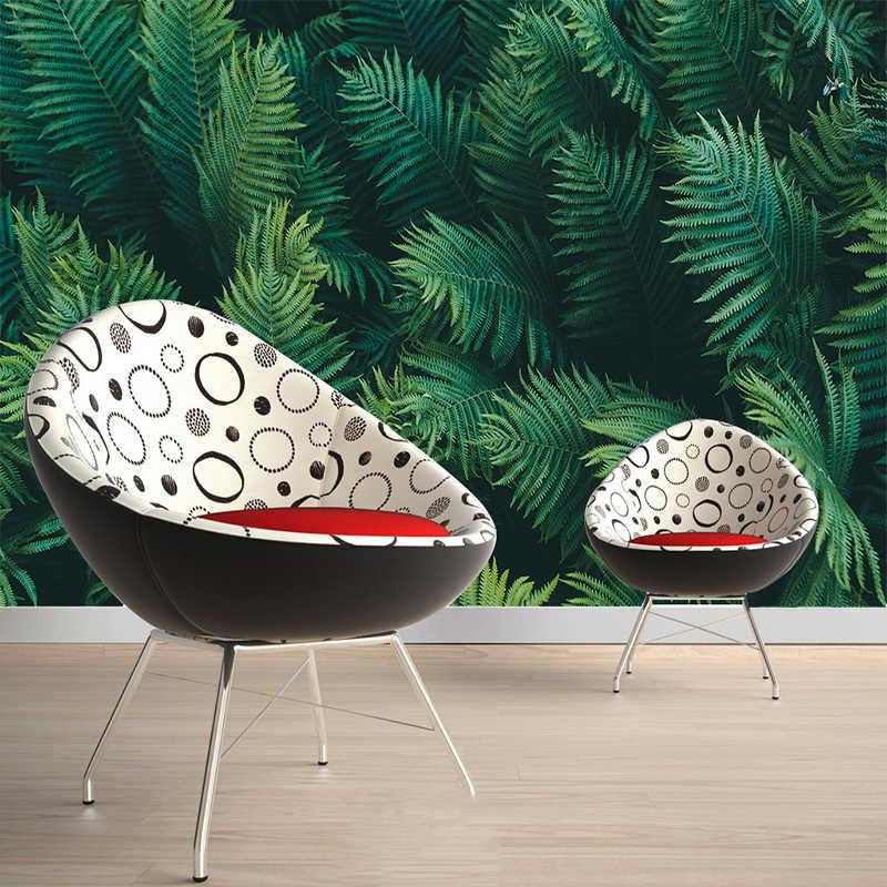 Kustom Ukuran Lukisan Dinding Wallpaper 3D Stereo Daun Hijau Hutan Fresco Ruang Tamu Ruang Kerja Restoran Latar Belakang Lukisan Dinding Dekorasi