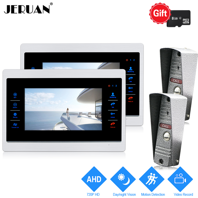 JERUAN 720P AHD Motion Detection 7`` Video Doorbell Door Phone Unlock Intercom System 2 Record Monitor + 2 HD IR Mini Camera 2V2 jeruan 720p ahd motion detection 7 touch screen video door phone doorbell intercom system 2 record monitor hd ir mini camera