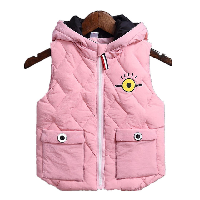 Warm Winter Children Light White Duck Down Vests S Cute Printing Waistcoats Boys Outdoor Windproof Hooded Vest
