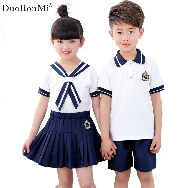DuoRonMi 2017 Summer Style Baby Boys Clothes Children T-shirt+ Skirt(or Short) Cotton School Clothing Kids Uniform Clothes Sets european and american style brand children s clothing children summer cotton short sleeved t shirt baby girls t shirt 50158