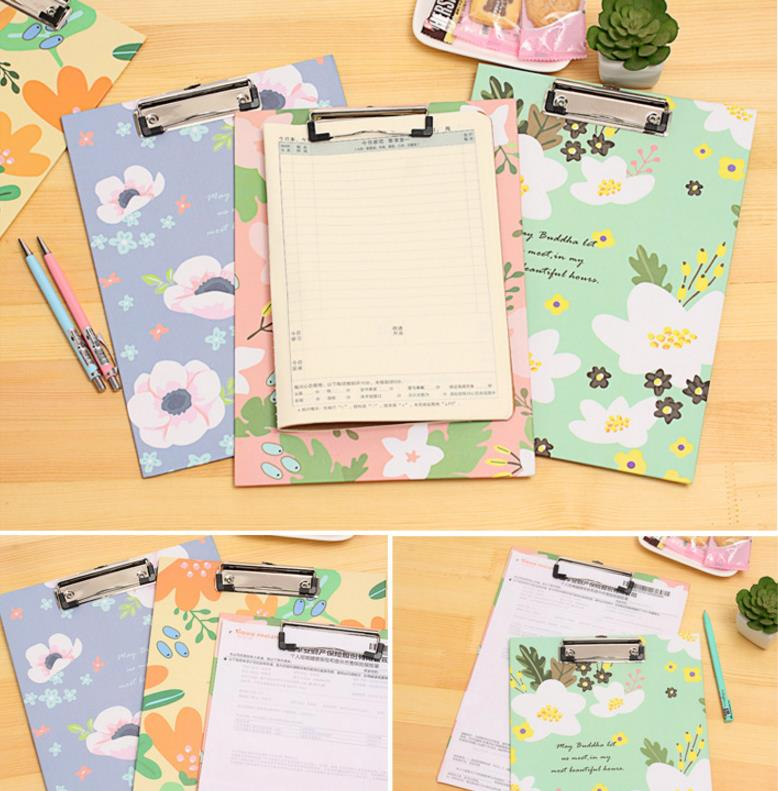 aeProduct.getSubject()  Cute Flower sequence A4 folder board Pill holder paper writing pad clipboard for little one reward workplace provides/ stationery four colours HTB1