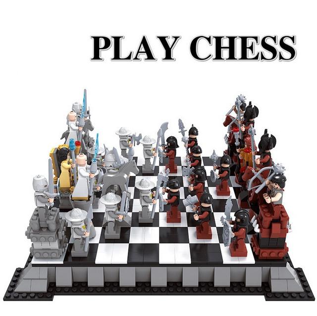 Castillo enlighten serie internacional de ajedrez modelo building blocks establece ladrillos niños juguetes minis bringuedos diy