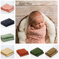 Newborn Baby Photography Prop 50*160cm Backdrops Wrap+Handband Hand Crochet Knitted Infant Cotton 9 Color Bebe Photo Props