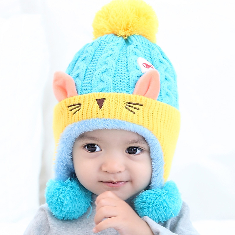 Girl's Accessories Cute Baby Winter Hat Warm Child Beanie Cap Animal Cat Ear Kids Crochet Knitted Hat For Children Boys Girls Hot New Orders Are Welcome. Girl's Hats
