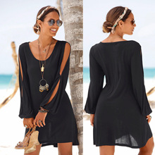 2019 New Casual Black Loose Above Knee Short Mini Dress Split Hollow Cut Out Long Sleeve Beach Dresses Solid Color Black Low Cut concise cut out raglan sleeve black dress for women