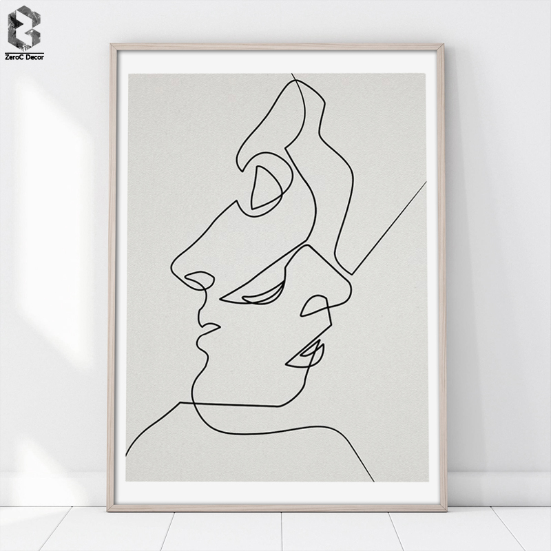 KISS - One Line Drawing Face Sketches Minimalist Art Canvas Poster Painting Black White Abstract Picture Print Modern Home Decor