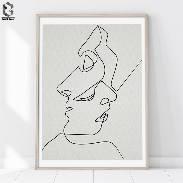 Single Line Art Print : Kiss one line drawing face sketches minimalist art canvas