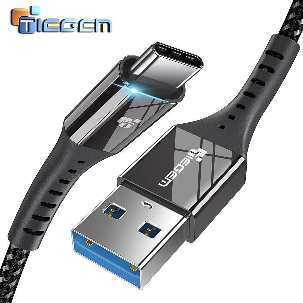 USB 3.0 Cabo Tipo C 2.4A TIEGEM USB C Cabo para Huawei USB-Tipo C cabo de Carregamento Rápido para Samsung S9 S8, google Pixel 2