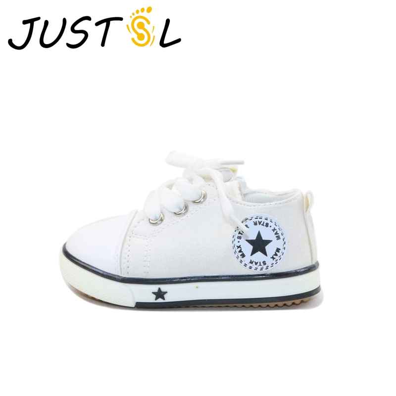 JUSTSL Hot sale children casual canvas shoes flat toddler shoes for boys girls outdoor lace up kids fashion sneakers size 21-25