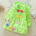 2017 Autumn Child Girls Fashion Cartoon Bears and Bowknot Trench with Hooded.Children Trench Coat,V1812
