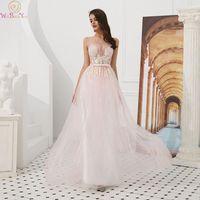 Новинка 2019 года; платье для выпускного вечера; цвет розовый, синий; длинное платье с круглым вырезом; без рукавов; модное платье с бантом и по
