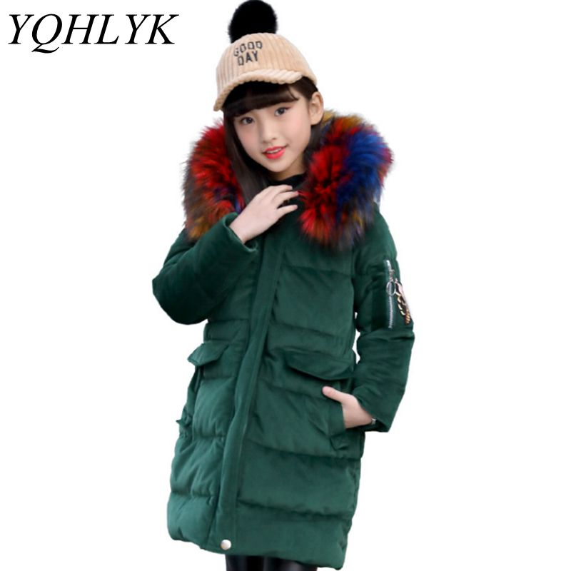 New Fashion Winter Cotton Girls Coat 2018 Korean Children Zipper Hooded Thick Warm Jacket High-end Atmosphere Kids Clothes W93 2017 fashion new men winter coat cotton leisure warm windproof jacket mens winter hooded coat removable