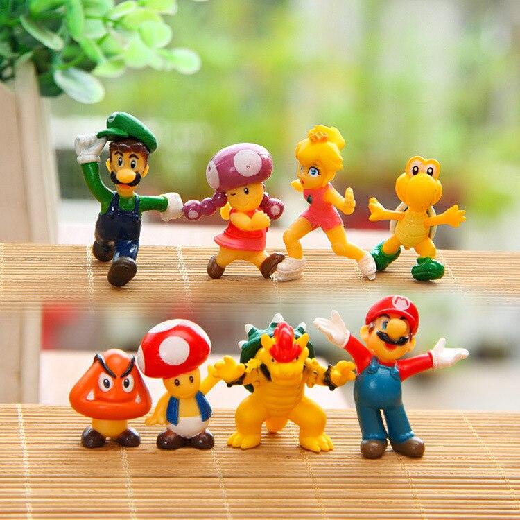 "Wholesale 8pcs/set <font><b>Super</b></font> <font><b>Mario</b></font> Bros 2"" <font><b>Mario</b></font> Luigi Mushroom <font><b>Toad</b></font> Princess <font><b>Action</b></font> <font><b>Figure</b></font> <font><b>Super</b></font> <font><b>Mario</b></font> yoshi <font><b>PVC</b></font> Gift Toys For Kid"
