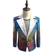 Colorful Blazers For Men Gold Red Blue Sequin Blazer Men Slim Fit Club Party DJ Stage Clothing For Men Blazer Masculino Slim Fit