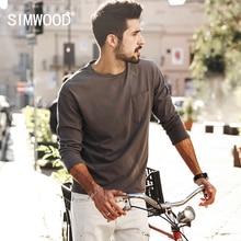 Simwood 2017 neue frühling t shirts männer langarm 100% reiner baumwolle fashion brand clothing slim fit plus größe tl3512