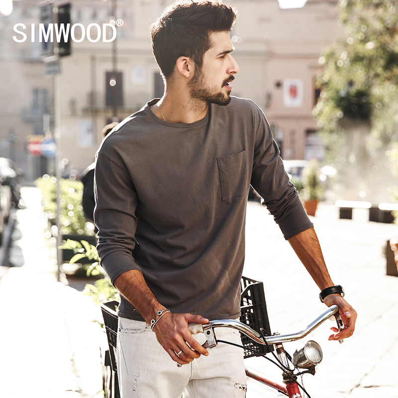 SIMWOOD 2019 New Spring   T     shirts   Men Long sleeve 100% Pure Cotton Fashion Brand Clothing Slim Fit Plus Size TL3512