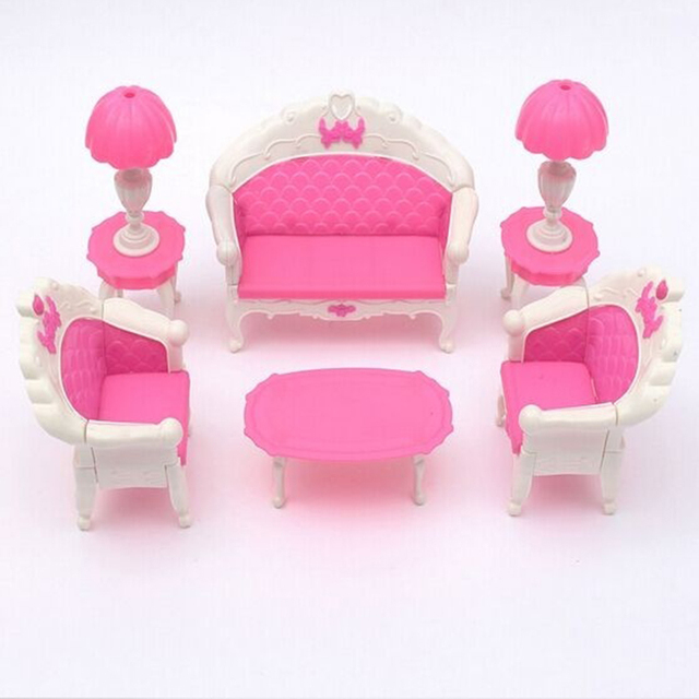 2017 New Arrival 6pcs Cute Dollhouse for Barbie Doll Furniture ...