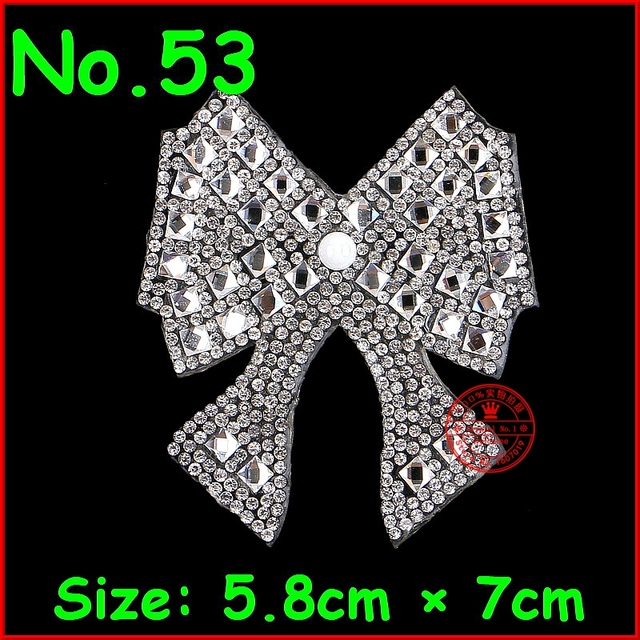 1 pcs Lot Bow Patches Hotfix Rhinestone Iron on Crystal Patch Applique Motif  For Women d9161dcca406