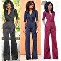 F0728 chegam Novas venda quente jumpsuit mulheres v neck mulheres bodysuit macacão rendas elegante macacão clubwear