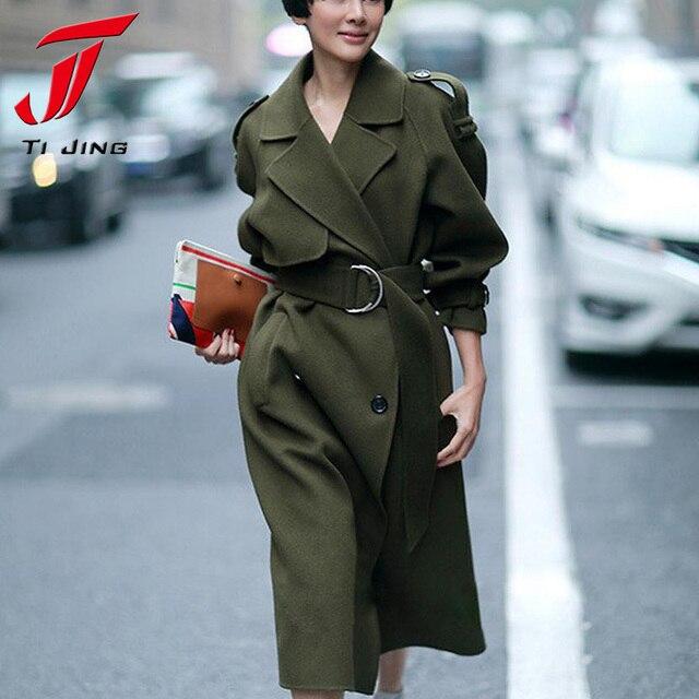 FRAIS VERT 2017 Nouveau Design Hiver manteau femmes Laine Manteau Trench  Oversize Chaud manteau Européen de