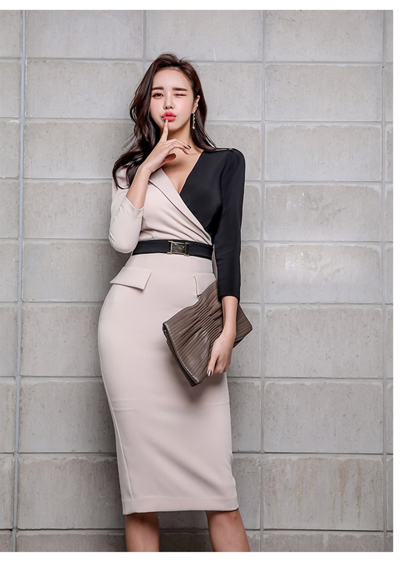 2019 Summer Women Elegant V Neck Patchwork Pencil Dress Sashes Three Quarter Sleeve Party Dress Office Lady Belt Mid Dresses in Dresses from Women 39 s Clothing