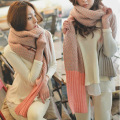 Free shipping new 2016 high quality fashion patchwork winter scarf knitted thickening warm scarf women muffler 5 Color