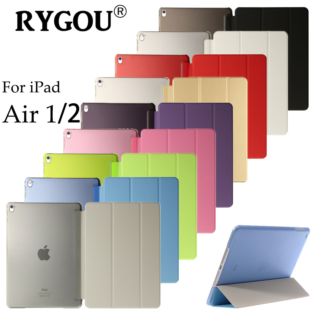 RYGOU For iPad Air 1 / Air 2 Case, Wake up Sleep Function Smart Cover Tablet PU Leather Case For Flip Cover iPad Air 2 Tablet ctrinews flip case for ipad air 2 smart stand pu leather case for ipad air 2 tablet protective case wake up sleep cover coque
