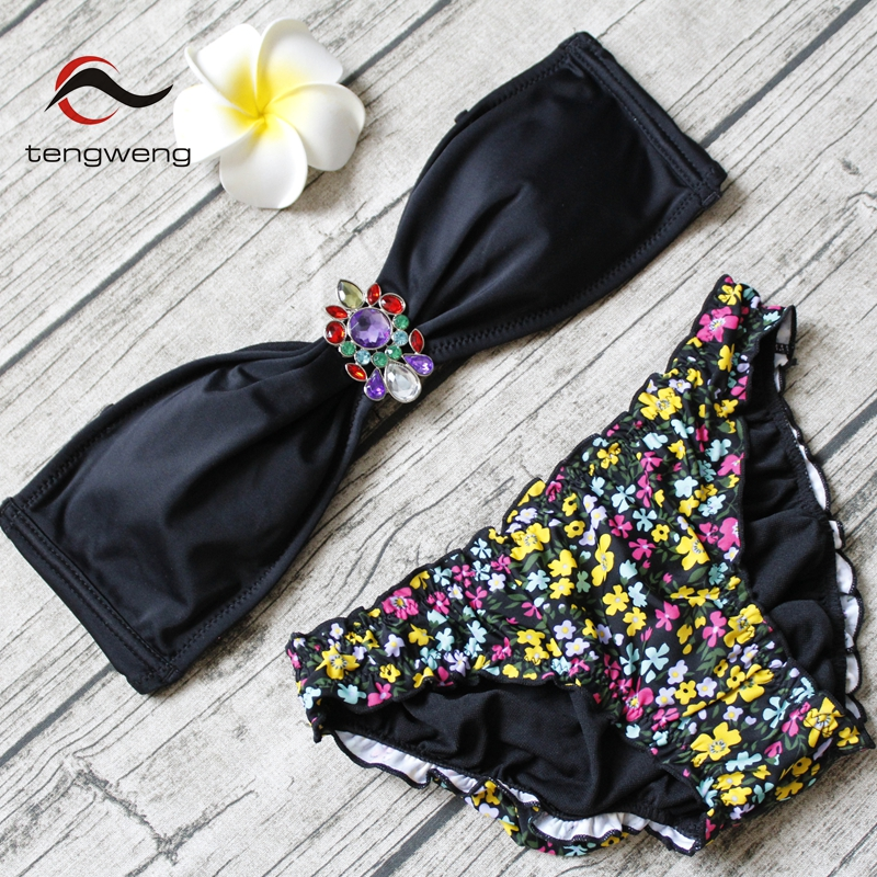 tengweng 2018 Two pieces Women bikini Cheap Push up Swimwear Print Bandeau Swimsuit Sexy Brazilian Female Bathing suit Beachwear