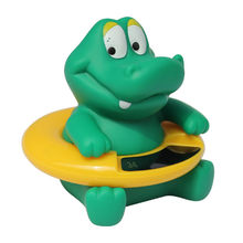 Animal Cute Crocodile Baby Infant Bathroom Shower Tub Swimming Rubber Float Water Thermometers Bathing Toy For Kids Children(China)