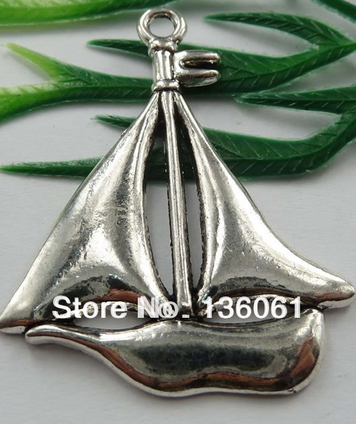 e1ddf6d0e Vintage Silver Large Sailboat Charms Pendant For Jewelry Making Findings  Bracelets Crafts Accessories DIY Gifts 10pcs Z1267