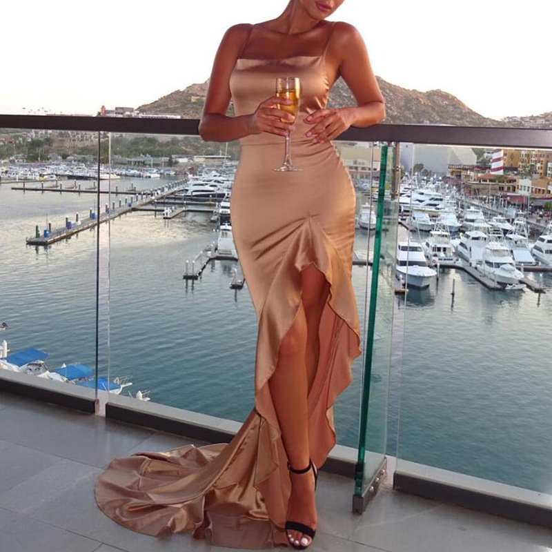 High-grade Elegant Khaki Red Ladies Sexy Sling Backless Side Slit Dress Satin Material Long Floor-Length