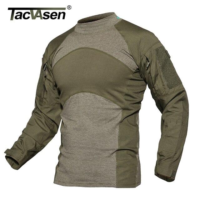 TACVASEN Männer Sommer Taktische T shirt Armee Kampf Airsoft Tops Langarm Militär t shirt Paintball Jagd Camouflage Kleidung 5XL