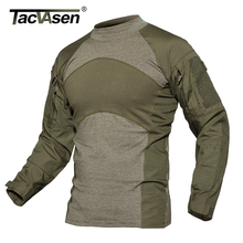 TACVASEN Men Summer Tactical T shirt Army Green Combat T Shirt Long Sleeve Military Shirt Rip