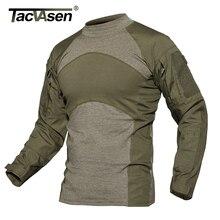 Tacvasen Mannen Zomer Tactische T shirt Army Combat Airsoft Tops Lange Mouwen Militaire T shirt Paintball Jacht Camouflage Kleding 5XL