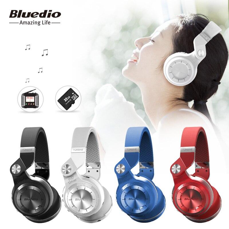 Original Bluedio T2 + plegable auricular inalámbrico con micrófono auriculares Bluetooth soporta Radio FM y tarjeta SD