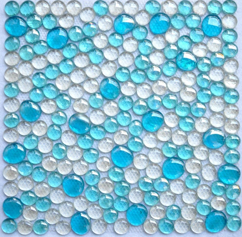 3D round blue mixed clear crystal mosaic tiles mesh backing EHM1002 ...
